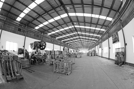 blanking: Blanking workshop production line, in a manufacturing enterprise, on December 20, 2013, tangshan city, hebei province, China.  Stock Photo