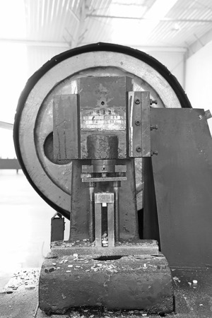punch press: manufacturing stamping equipment in a workshop, china