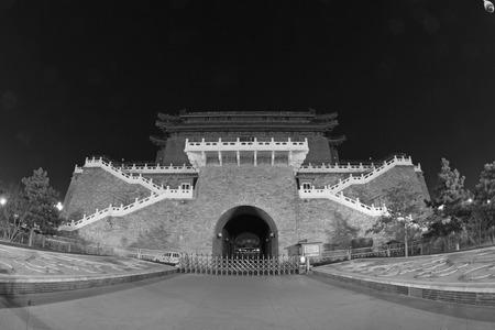 restore ancient ways: BEIJING - DECEMBER 22: The Large Front Door night view  on december 22, 2013, beijing, china.