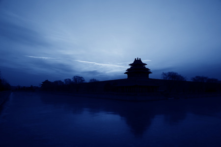 turrets: BEIJING - DECEMBER 22: The Northwest turrets of the Forbidden City on december 22, 2013, beijing, china.  Editorial