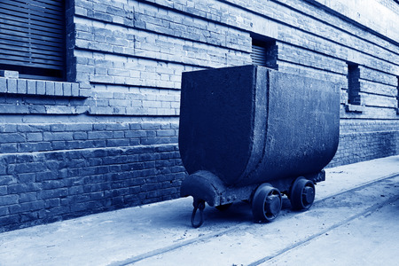 idle: idle rail transporter in a factory, closeup of photo