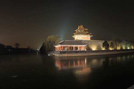 turrets: BEIJING - DECEMBER 22: The night view of northeast turrets of the Forbidden City on december 22, 2013, beijing, china.  Editorial