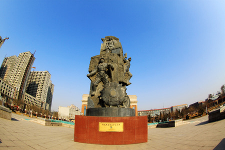 miners: TANGSHAN - JANUARY 2: The miners theme sculpture, in the Kailuan national mine park, on January 2, 2014, tangshan city, hebei province, China.