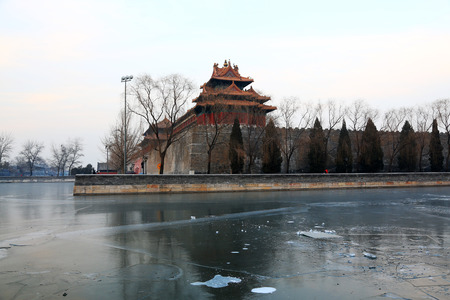 turrets: BEIJING - DECEMBER 22: The northeast turrets of the Forbidden City on december 22, 2013, beijing, china.  Editorial