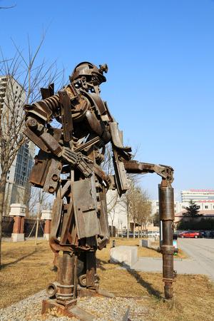 mineros: TANGSHAN - 02 de enero: La escultura imagen mineros de metales, en el parque nacional de desminado Kailuan, el 2 de enero de 2014, la ciudad de Tangshan, provincia de Hebei, China. Editorial
