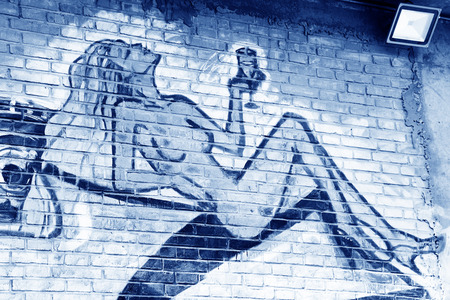breast comic: TANGSHAN - JANUARY 2: The naked woman pattern on the wall, in the Kailuan national mine park, on January 2, 2014, tangshan city, hebei province, China.