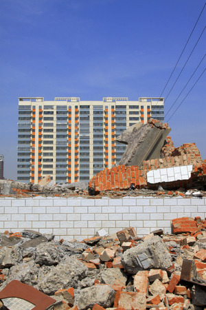 LUANNAN COUNTY - APRIL 6: Housing demolition materials in the demolition site and new building, April 6, 2014, Luannan county, hebei province, China.    Editorial