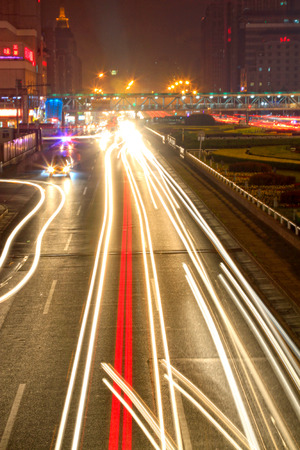 parapet: Urban construction scene night traffic flow, in Beijing, China Editorial