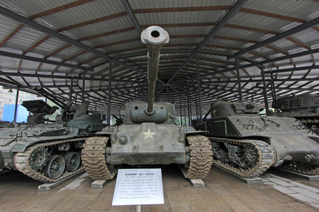 pershing: BEIJING - MAY 24: American M26 Pershing heavy tanks, in the Chinese military museum, on may 24, 2014, Beijing, China
