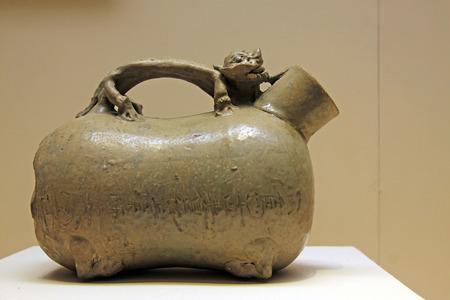 chamber pot: CHINA - THREE Kingdoms, WU STATES (251 AD): Celadon Chamber Pot, Three Kingdoms, Wu States (251 AD), collection in the China national museum, Beijing, China.