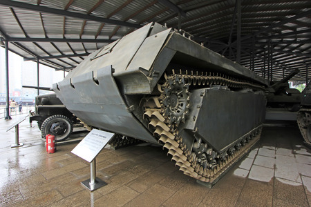 the amphibious: BEIJING - MAY 24: American LVT - MKII type amphibious armored truck, in the Chinese military museum, on may 24, 2014, Beijing, China