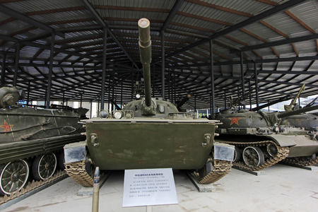 BEIJING - MAY 24: China made 63 type amphibious tanks, in the Chinese military museum, on may 24, 2014, Beijing, China