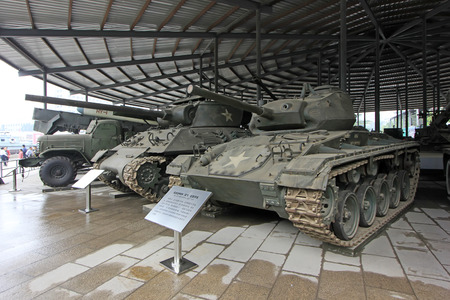 BEIJING - MAY 24: American m2-m24 it light tanks, in the Chinese military museum, on may 24, 2014, Beijing, China