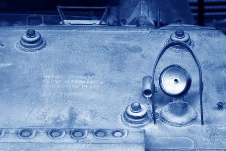 armored: Armored vehicle lighting equipment, closeup of photo