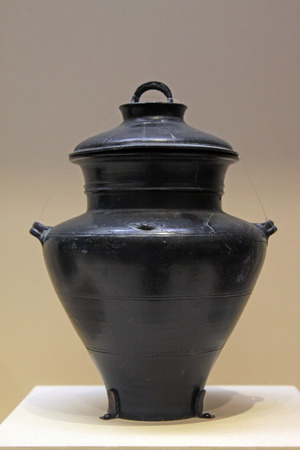 counterpoise: CHINA - LONGSHAN CULTURE (CIRCA 2500-2000 BC) :Black Pottery Jar, LongShan culture ( circa 2500-2000 BC), collection in the China national museum, Beijing, China.