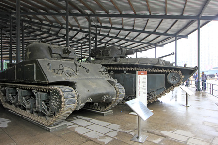BEIJING - MAY 24: American M4A1 type Sherman medium tank, in the Chinese military museum, on may 24, 2014, Beijing, China