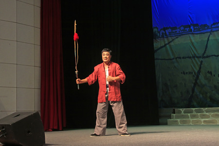 restore ancient ways: LUANNAN COUNTY - AUGUST 18: Ancient costume PingJu  After Yang Sanjie go to law against sb  still in the ChengZhaoCai grand theater, on august 18, 2014, luannan county, hebei province, china.