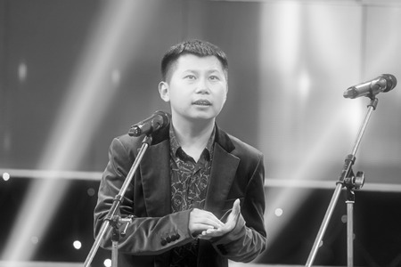 he: Beijing - November 25: The famous comedian He Yunwei performing on the stage, on november 25, 2013, beijing, china.