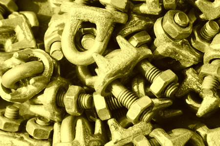 oxidize: oxidize nut fasteners piling up in together Stock Photo