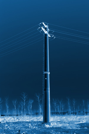 steel blue: high voltage electric power steel tube tower under the blue sky, north china