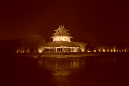 turrets: The night view of northeast turrets of the Forbidden City on december 22, 2013, beijing, china.