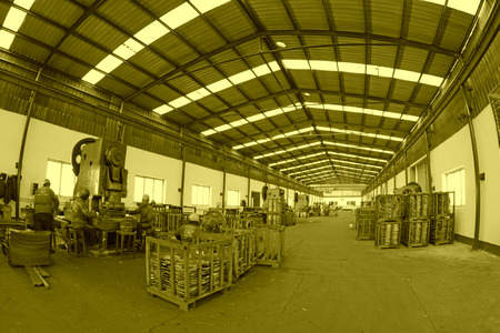 blanking: Blanking workshop production line, in a manufacturing enterprise, on December 20, 2013, tangshan city, hebei province, China.