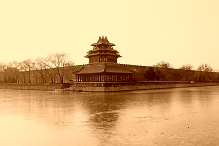 turrets:  The northeast turrets of the Forbidden City on december 22, 2013, beijing, china.