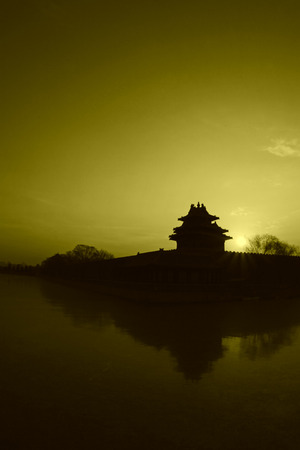 turrets: BEIJING - DECEMBER 22: The Northwest turrets of the Forbidden City on december 22, 2013, beijing, china.