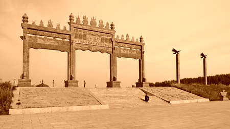 restore ancient ways: FENGNING COUNTY - AUGUST 20: Great khan palace doors, on august 20, 2014, Fengning County, Hebei Province, China Editorial