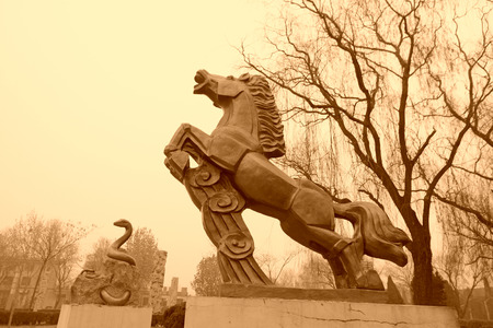 stone carving: CANGZHOU - DECEMBER 8: The stone carving horse in the WuQiao acrobatics world scenic spots, on december 8, 2013, cangzhou, hebei province, China. Stock Photo