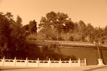 white marble: White marble railings and red wall in the park, beijing, china