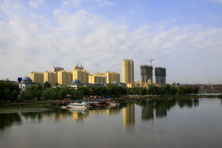 wider: LUANNAN COUNTY - SEPTEMBER 27: Urban building scenery, on september 27, 2014, Luannan County, Hebei Province, China Editorial