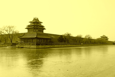 turrets: BEIJING - DECEMBER 22: The northeast turrets of the Forbidden City on december 22, 2013, beijing, china.