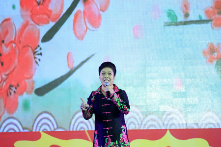 national day: LUANNAN COUNTY - SEPTEMBER 27: song performance at the National Day party, on september 27, 2014, Luannan County, Hebei Province, China Editorial