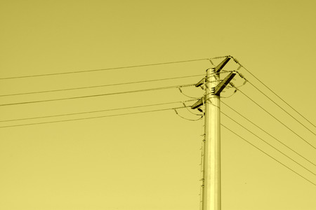 solid wire: high voltage electric power steel tube tower under the blue sky, north china