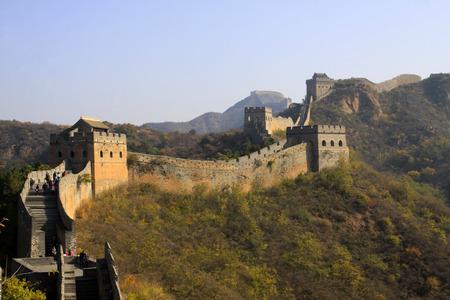 the great wall and the fall: Jinshanling Great Wall scenery, China Editorial