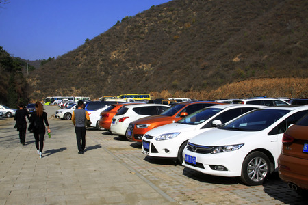 hebei province: CHENGDE CITY -  OCTOBER 19: Jinshanling Great Wall scenic area parking lot, on october 19, 2014, Luanping County, Hebei Province, China