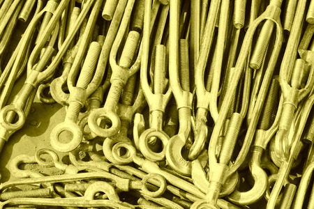 fasteners: long bolt fasteners hardware components, closeup of photo Stock Photo