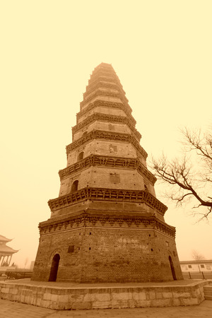 appearance: JING COUNTY - DECEMBER 8: The stupas architectural appearance, on december 8, 2013, jing county, hebei province, China. Editorial