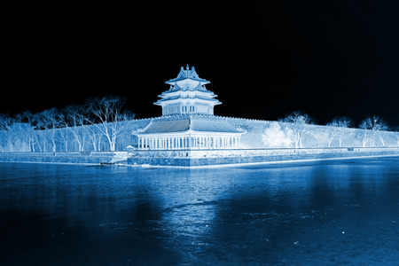 appearance: BEIJING - DECEMBER 22: The northeast turrets of the Forbidden City on december 22, 2013, beijing, china.