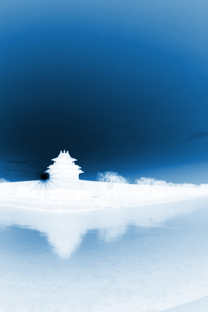 appearance: BEIJING - DECEMBER 22: The Northwest turrets of the Forbidden City on december 22, 2013, beijing, china.
