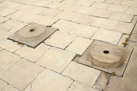 cornerstone: broken cornerstone in a park