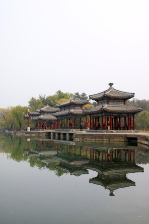 humanism: CHENGDE CITY -  OCTOBER 20: Chinese traditional style landscape architecture in chengde mountain resort, on october 20, 2014, Chengde City, Hebei Province, China