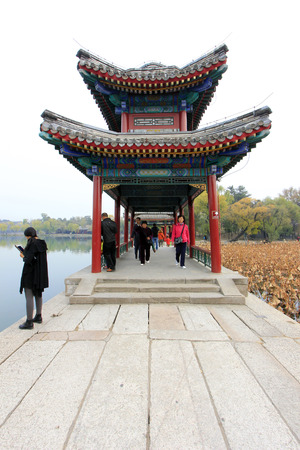 hebei province: CHENGDE CITY -  OCTOBER 20: Chinese traditional style building scenery in chengde mountain resort, on october 20, 2014, Chengde City, Hebei Province, China