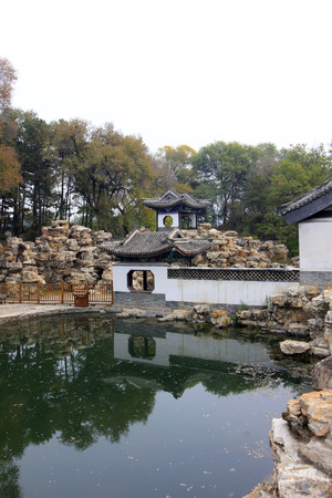 humanism: CHENGDE CITY -  OCTOBER 20: Wen Garden lion forest scenery in chengde mountain resort, on october 20, 2014, Chengde City, Hebei Province, China