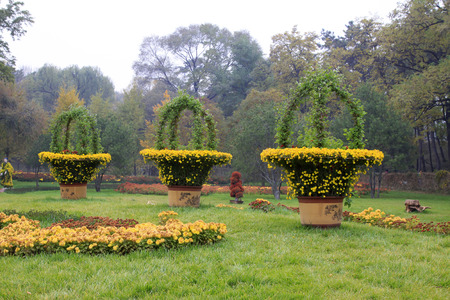 hebei province: CHENGDE CITY -  OCTOBER 20: Flowers gardening landscape in chengde mountain resort, on october 20, 2014, Chengde City, Hebei Province, China Editorial