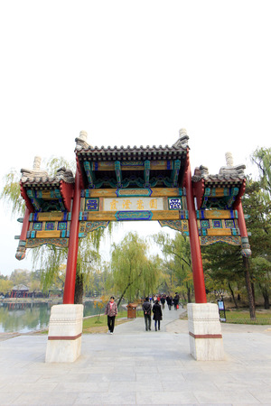 humanism: CHENGDE CITY - 20 de octubre: la arquitectura del paisaje tradicional china en Chengde resort de monta�a, en 20 de octubre 2014, la ciudad de Chengde, provincia de Hebei, China