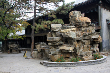 hebei province: CHENGDE CITY -  OCTOBER 20: Fake rock landscape architecture in chengde mountain resort, on october 20, 2014, Chengde City, Hebei Province, China