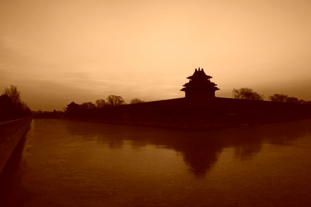 moat wall: BEIJING - DECEMBER 22: The Northwest turrets of the Forbidden City on december 22, 2013, beijing, china.