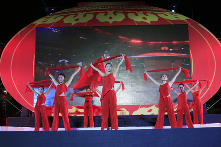 ms: LUANNAN COUNTY - SEPTEMBER 27: dance performance at the National Day party, on september 27, 2014, Luannan County, Hebei Province, China Editorial
